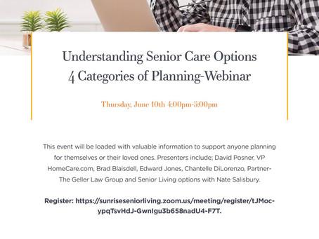 Upcoming Webinar: Understanding Senior Care Options—4 Categories of Planning