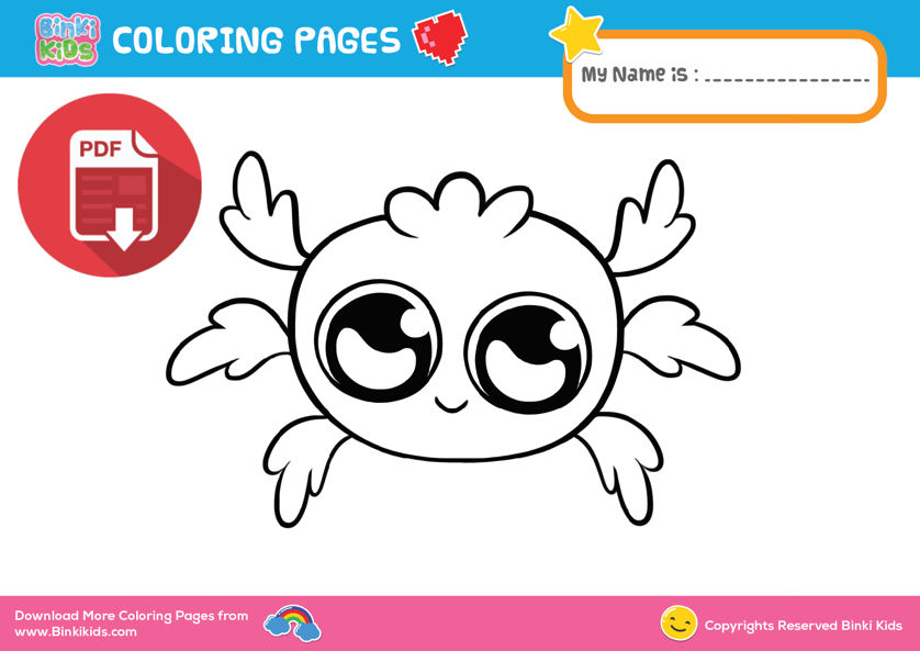 Itsy Bitsy Spider - Easy coloring pages