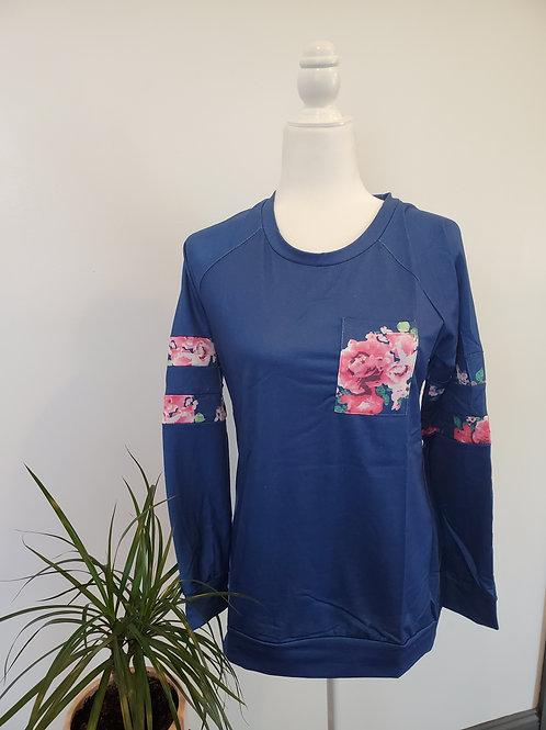 Navy Sweatshirt w/ Floral Accent