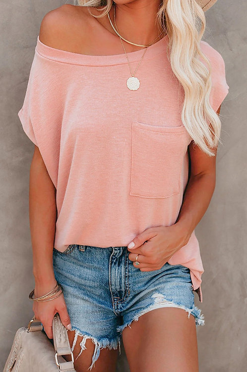 Pink Pocketed Tee W/ Side Slits