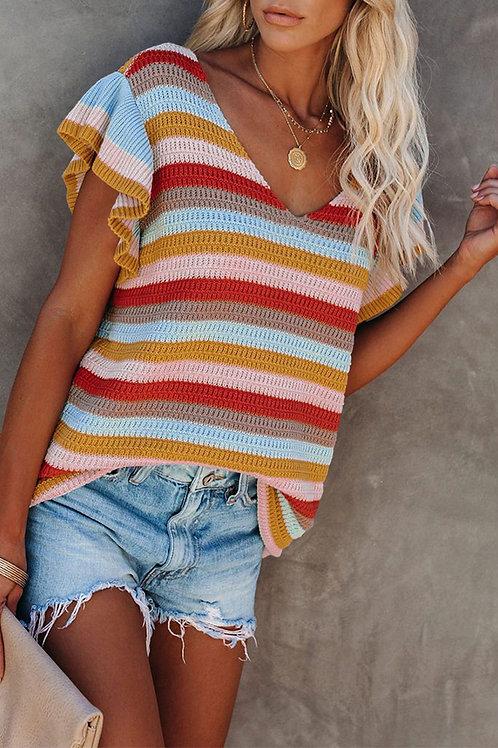 Multi-color Striped Ruffle Knit Top