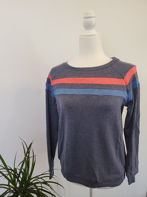Bi-Color Striped Navy Sweatshirt