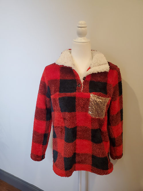 Red Plaid Turn-down Sherpa Sweatshirt