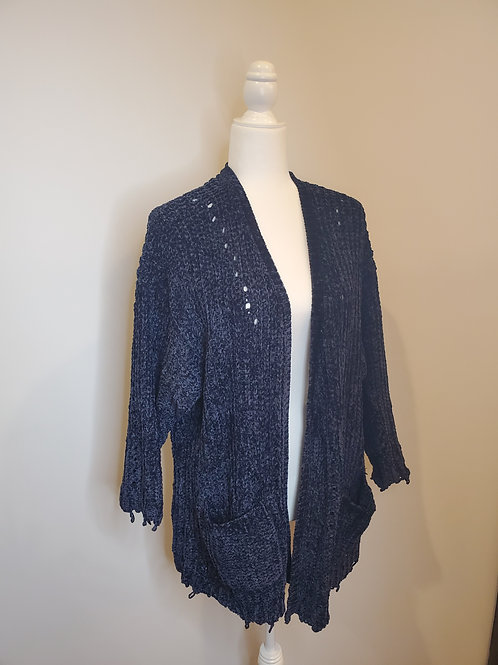 Blue Chenille Knit Semi Distressed Cardigan