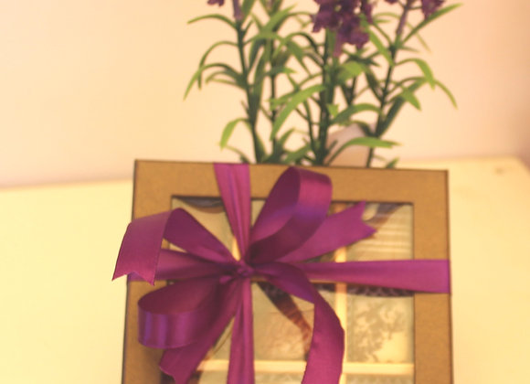 פרליני שוקולד עם עציץ פרחים לבנדר