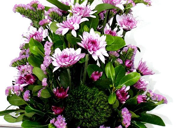 שזירת פרחים ורוד ירוק ומלבב