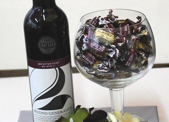 יין וכוס מלאה סוכריות