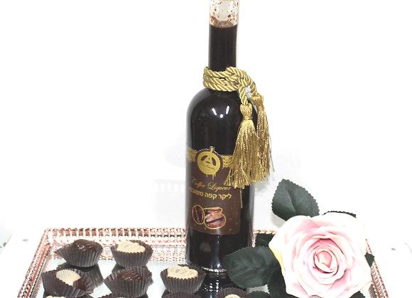 משלוח מנות על מגש ליקר שוקולד ושוקולד