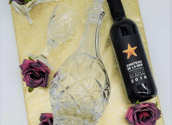 משלוח מנות דיקנטר מפואר2 כוסות ויין