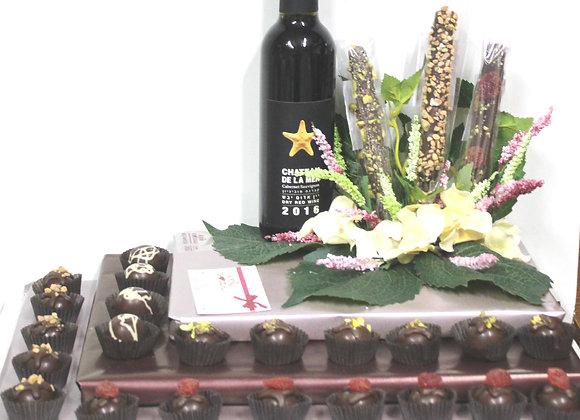 המון שוקולד פרחים ויין