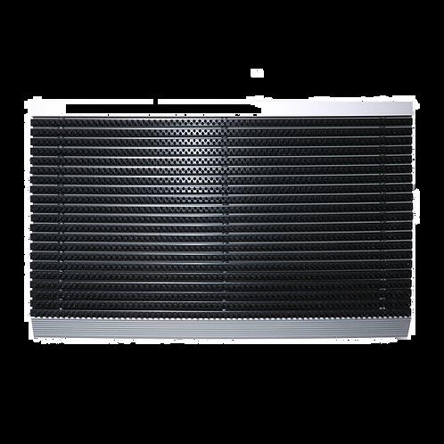 Luxe buitenmat zwart met zilver strip 50 x 80 cm