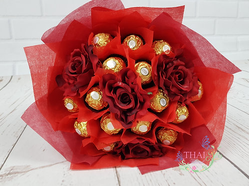 Ferraro Roucher Bouquet with Red Faux Roses