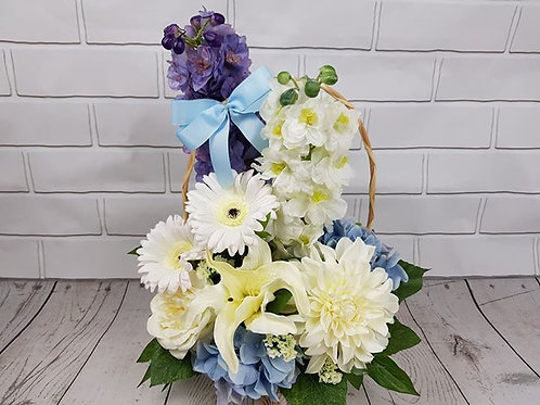 White and blue flower basket