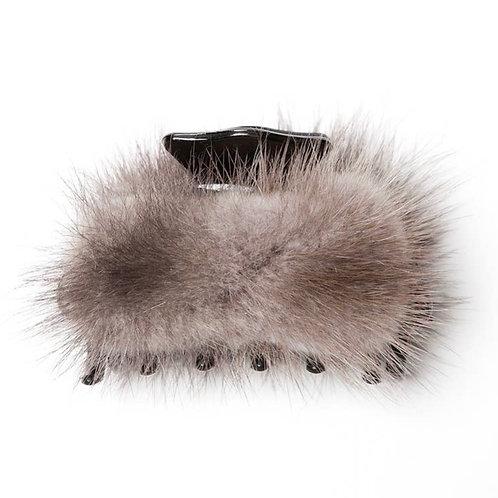 Liz Grey Fur Hair Clip