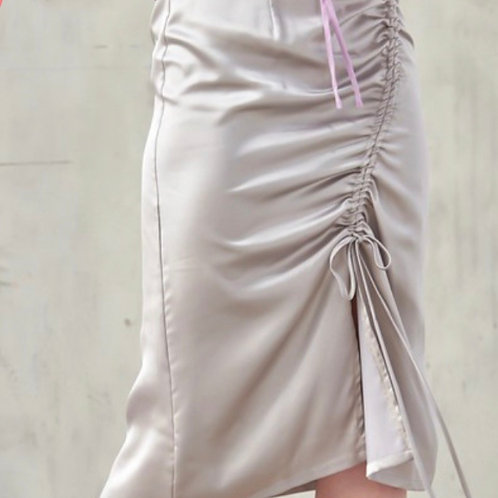 Gathered Satin Midi Skirt