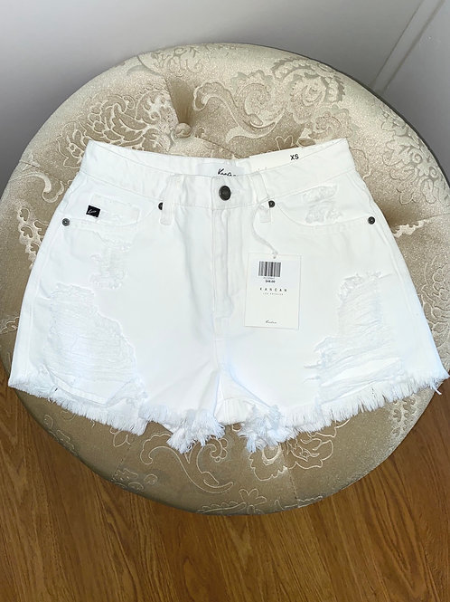 KanCan Distressed White Jean Shorts