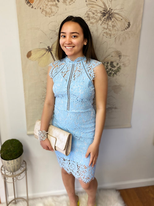 Baby Blue Icy Lace Dress