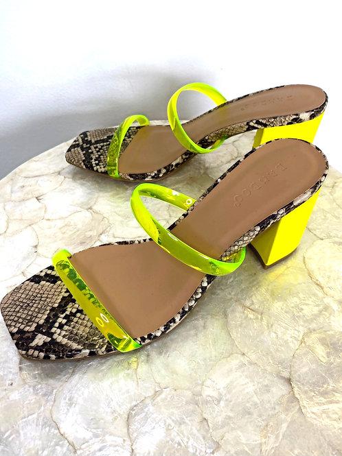 Neon Snakeskin Sandals