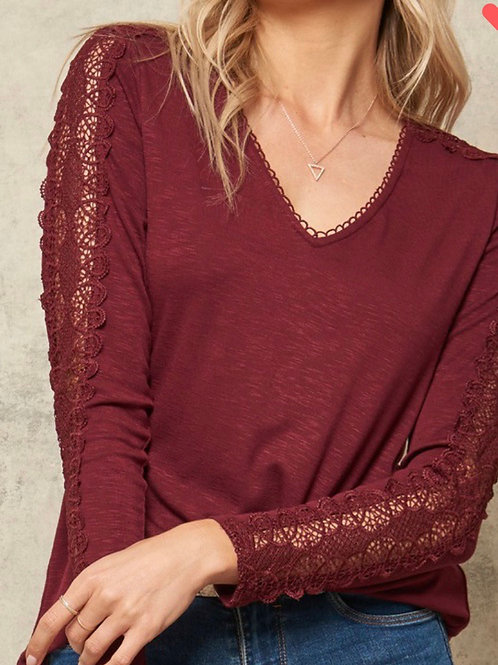 Wine Promise Lace Top