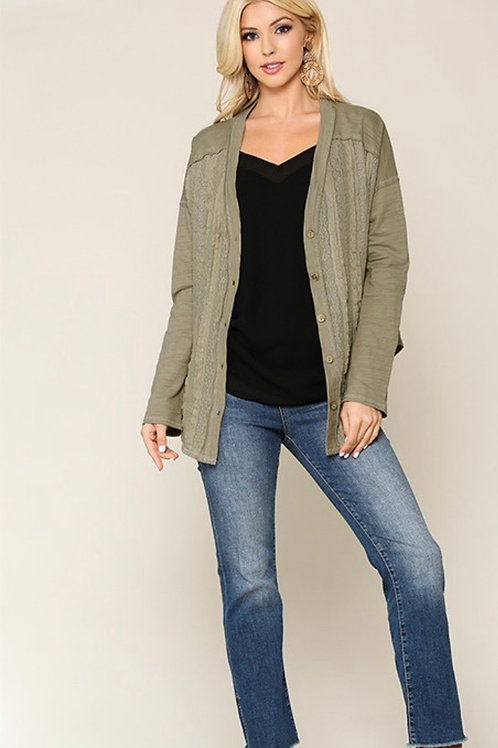 I See Olive Lace Front Cardigan