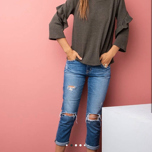 Long Sleeve Knit With Ruffles - Olive