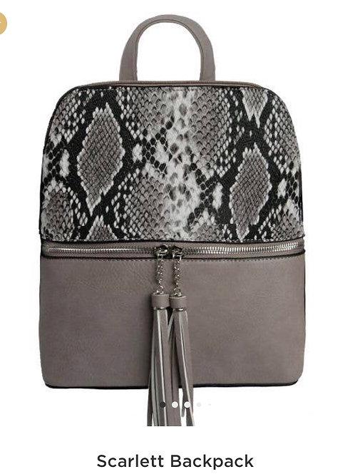 Snake Print Charcoal Backpack