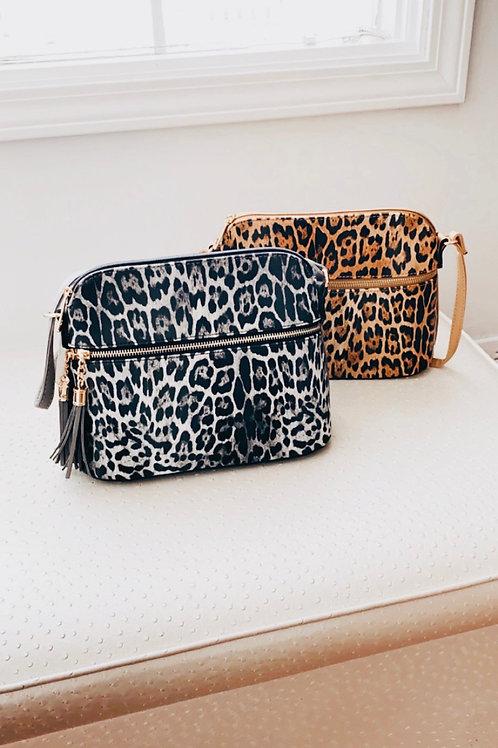 Leopard Zip Crossbody Handbag