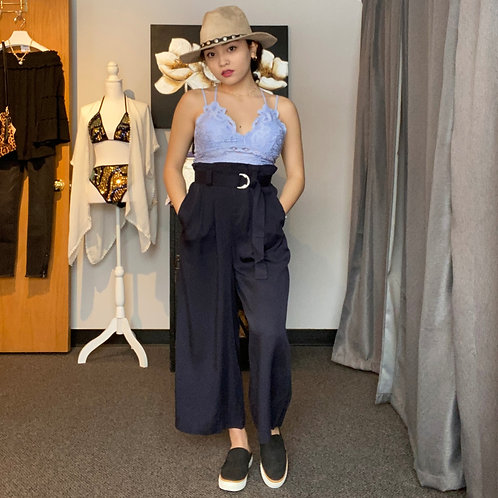 Dolly Gaucho Dress Pants-High waist -NAVY
