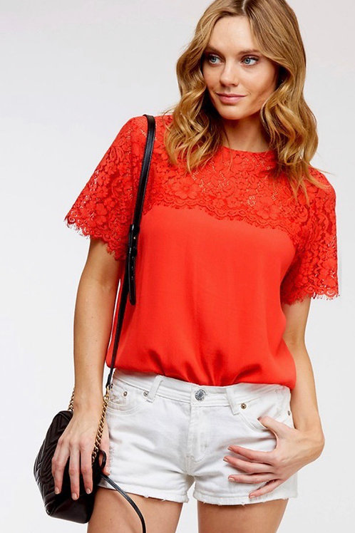 Fire Red Lace Contrast Blouse