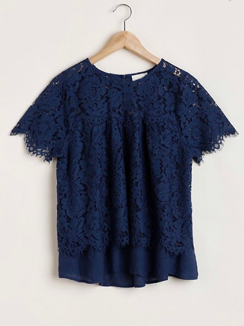 Catherine Navy Lacey Top