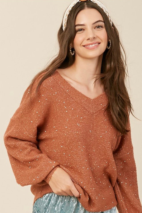 Thank you Sequin VNeck Sweater