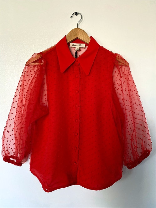 Sherri Red Button up Blouse