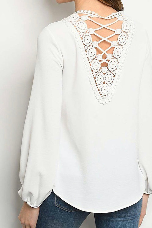 Anytime White Crochet VBack crew Neck Blouse