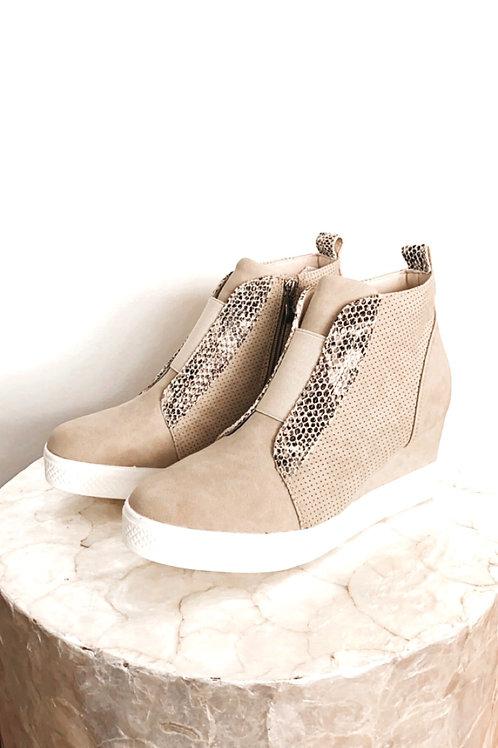 Zoey Snake Print Beige Wedge Sneaker