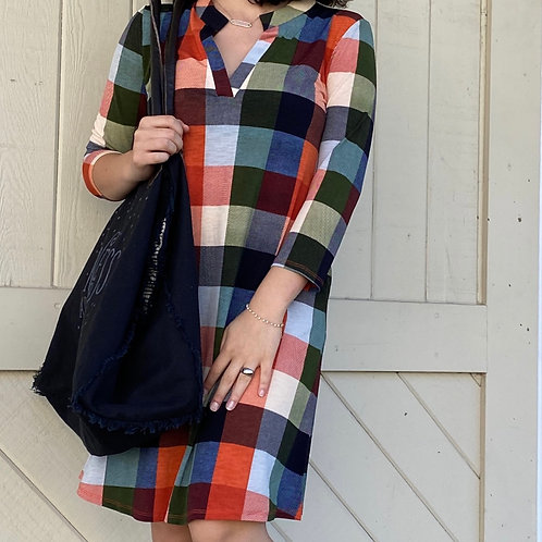 Fall Colors Block Print Dress