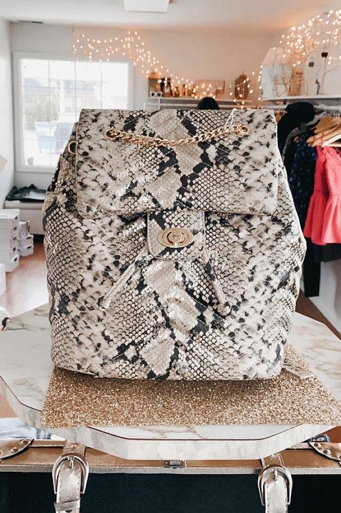 Snake Gold Fleck Quilted Backpack