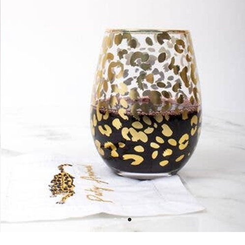 Leopard Gold Steamless Wine Glasses