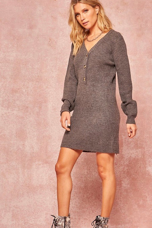 Stacy Charcoal Grey Sweater Dress