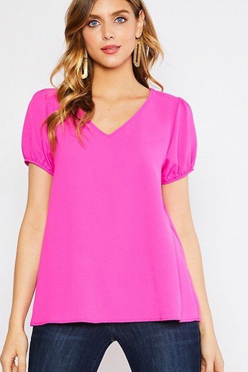 Hot Pink Puff Sleeve Blouse