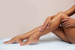 Woman body care. Close up of long female