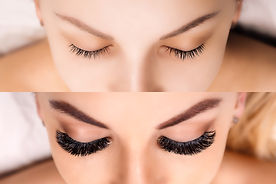 Eyelash Extension. Comparison of female