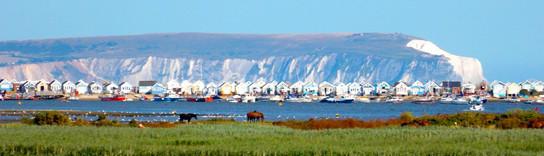 Mudeford Beach Huts with Isle of Wight