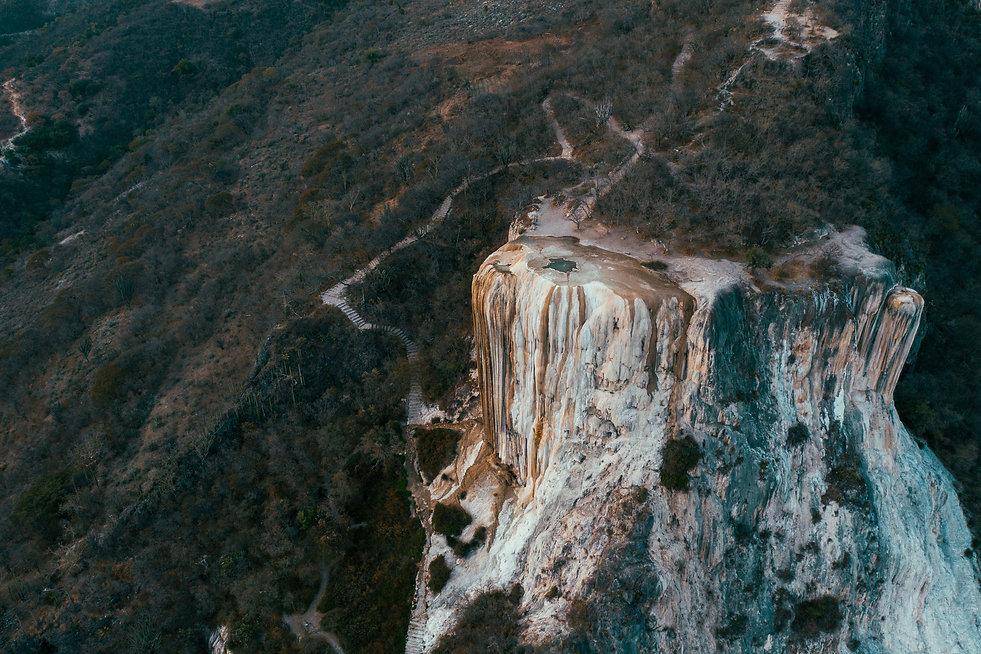 Фото с дрона Hierve El Agua на закате