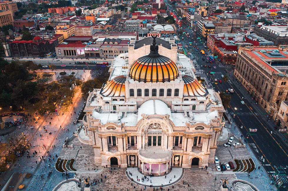 Bellas Artes на закате в историческом центре Мехико вид с дрона
