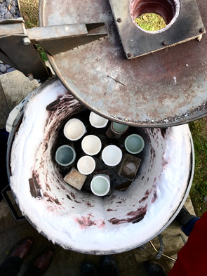 Raku firing at the Leach Pottery