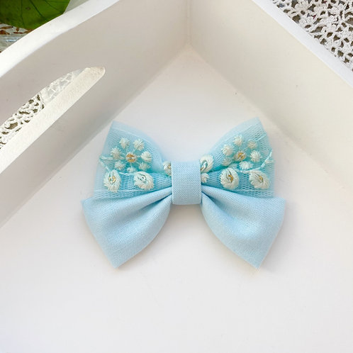 Floral Lace Baby Blue Bow Original Size