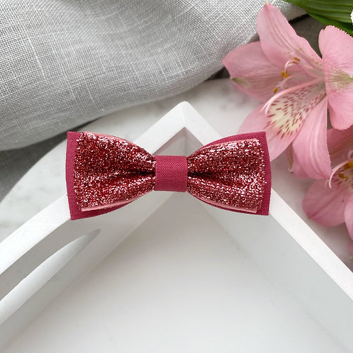 Skinny Glitter Bow - Deep Rose