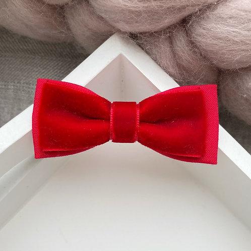 Skinny Velvet Bow - Red
