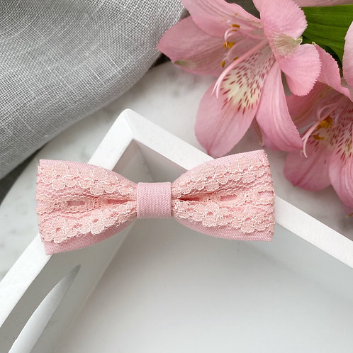 Pink Lace Skinny Bow