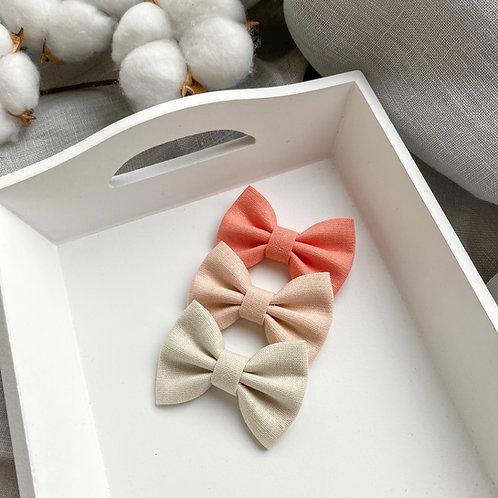 Peach Linen Bows